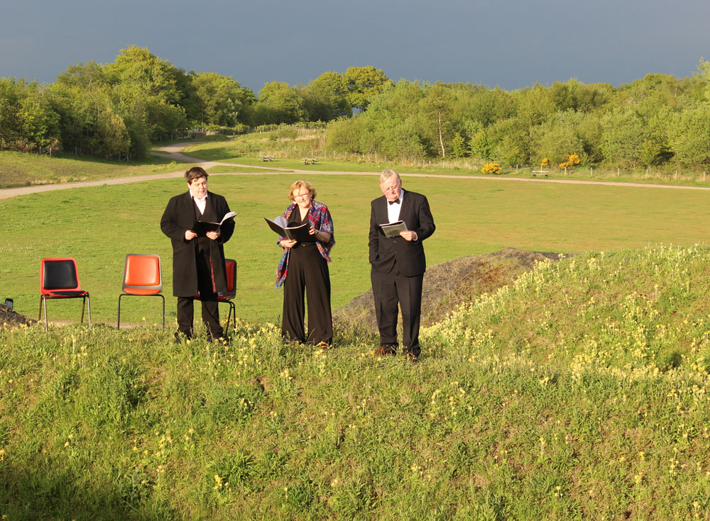 Rona Campbell, Peter Read, Chris Bawden performing David of the Mines at Parc Penallta,Ystrad Mynach.
